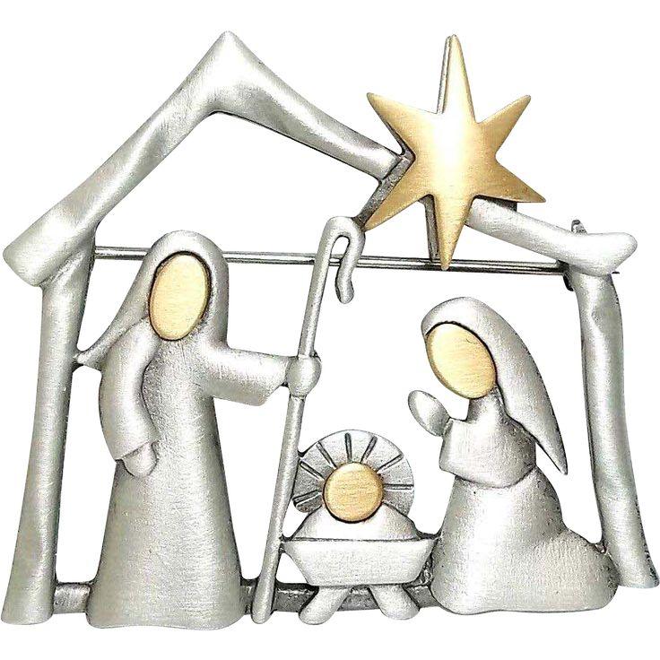Nativity - JJ Christmas pin J.J. brooch.  https://www.pinterest.com/clarasjewelry/christmas-on-ruby-lane/