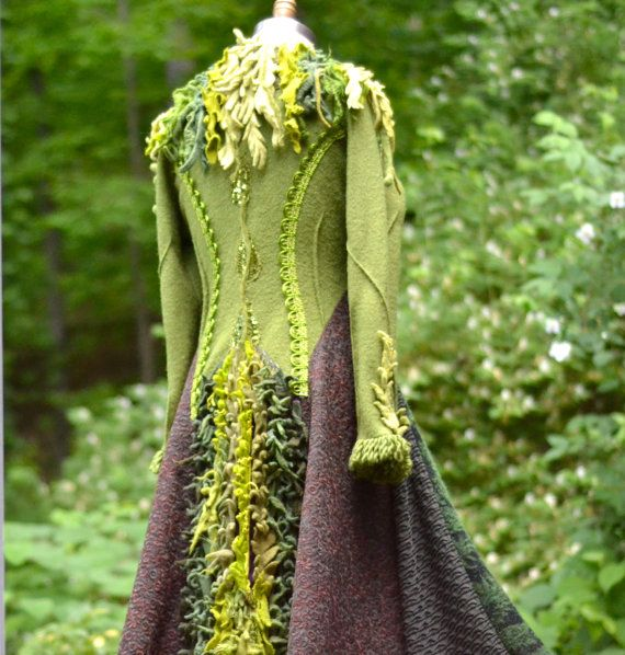 Green corset style sweater coat with felted flowers. Size Small/ Medium. Ready to ship Beautiful!