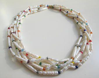 Kette,Halskette,5-Stränge,Perlenstäbe,Biwaperlen,cremefarben,bunte Glasperlen,Regenbogen,elegant,Geschenk für Frauen,kurze Kette,Echte perle - Artikel bearbeiten - Etsy