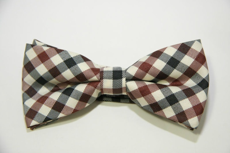 New Bow Tie: Cream, brown and black check adjustable strap bowtie - CHRISTIANTO | eBay