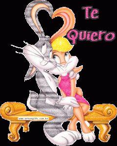 Imagen tierna de bugs bunny con frase TE QUIERO