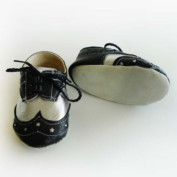 Baby Boy Shoes Black and Silver Leather Crib Dress shoes by ajalor, $35.00