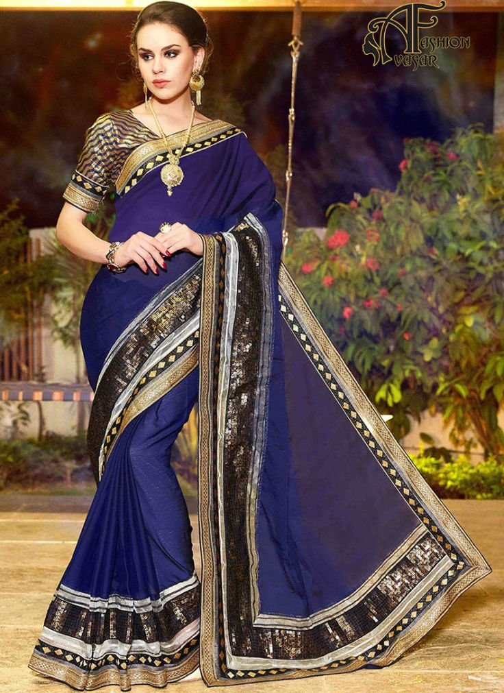 Blue buy party wear sarees online – georgette sarees online shopping