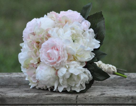 Blush pink and ivory peony wedding bouquet. by Hollysflowershoppe, $99.00