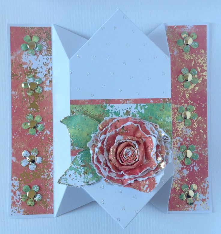Accordion card blank decorated using Glimmer cardstock, created by Julie Hickey
