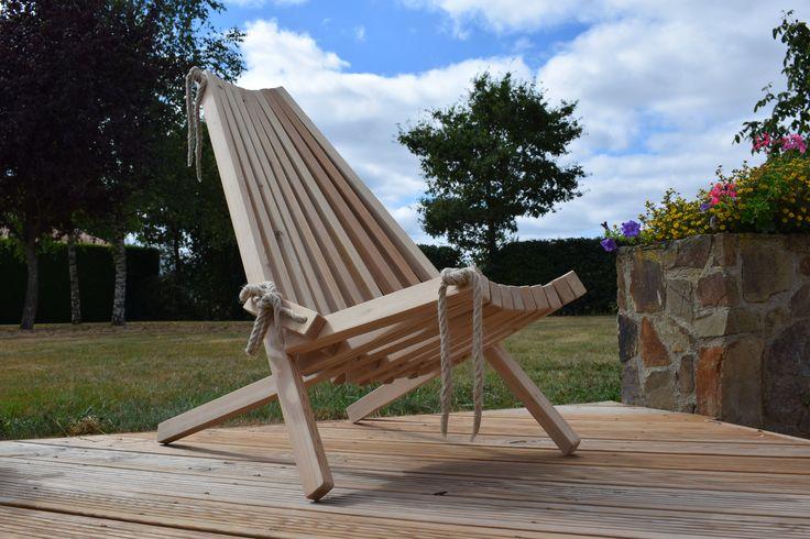 Indoor/outdoor Wooden chair - Larch wood - Chaise longue en mélèze - assemblage corde chanvre - 2 positions - usage intérieur ou extérieur