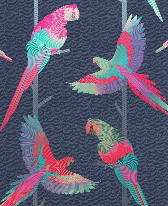 Arini Wallpaper A striking wallpaper featuring holographic foil parrots with cerise and jade plumage. The tropical birds are set against vines on an inky blue backdrop with a subtle pattern mimicking feathers.