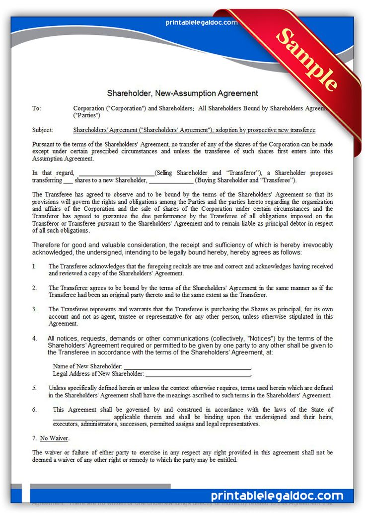 Free Printable Shareholder, Newassumption Agreement Legal Forms - shareholder agreement