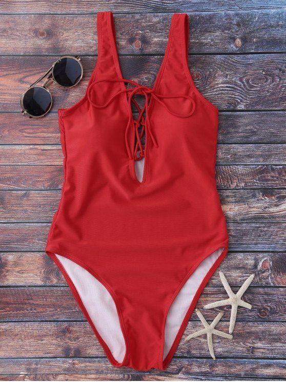 Ate para arriba Hundiendo cuello del traje de baño - Rojo S