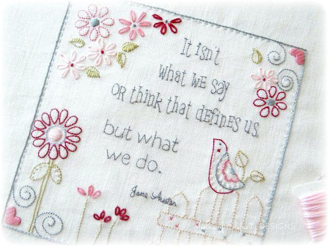 Jane Austen and wise words...stitchery pattern.