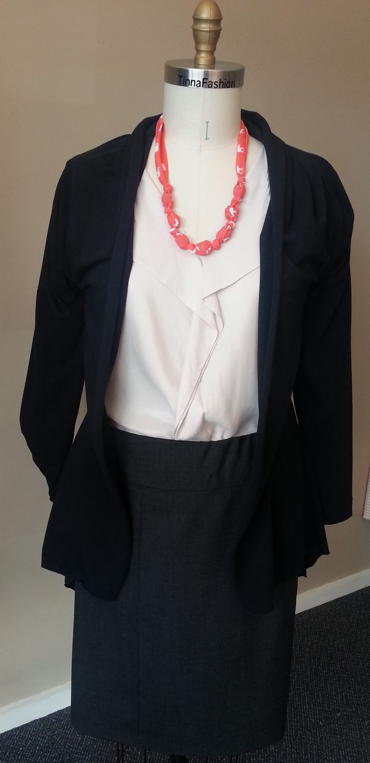 Soft Shirt in Airlie fabric (sold out), Draped Jacket in Navy Sella fabric, and Panelled Skirt in Charcoal Wool Blend fabric