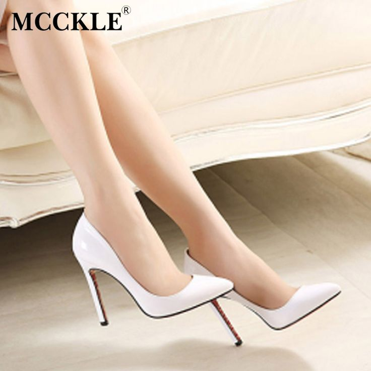 MCCKLE Women's shoes Fashion High heels Pumps Pointed toe Patent Leather Ladies Shoes Casual Elegant Party Women's Pumps Shoes #Affiliate