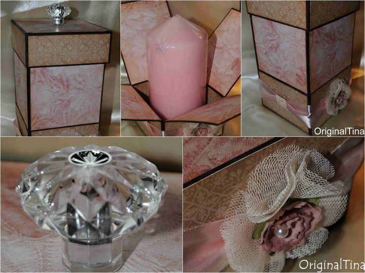 Handmade candle box, gift from chipboard and pattern papers, laces, ribbons