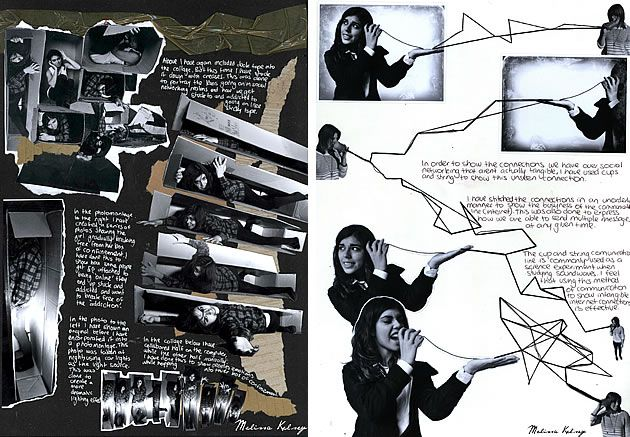 Sketchbooks provide an opportunity for students to investigate ideas and experiment with different techniques, without producing 'finished images'. In these examples, the photographs are not constrained to a rectangular frame and free-flow across the page. This is an excellent approach, allowing students to play creatively with the communication of ideas, without the restriction of composing a finished work.