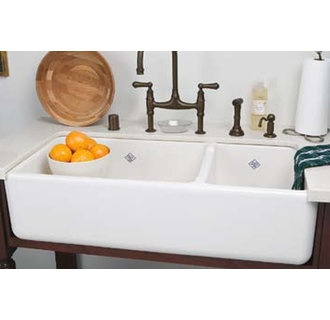Delightful Rohl By By Deep Shaws Rutherford Plain Apron Front Fireclay Kitchen Sink,  White