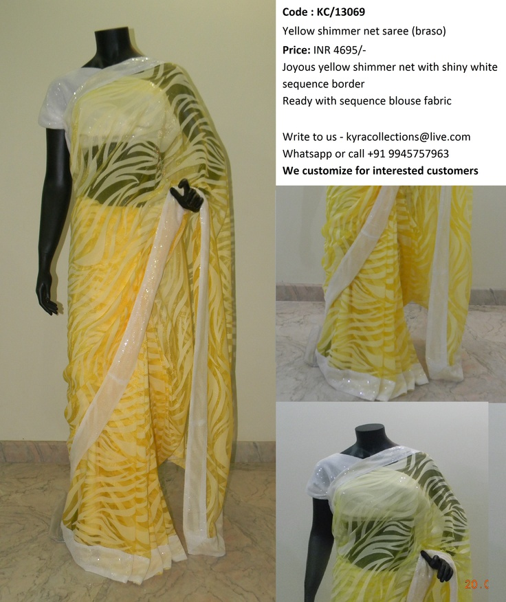 Yellow shimmer net saree (braso)