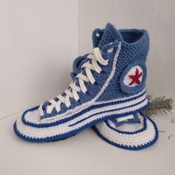 Crochet converse boots Women socks slippers Crochet converse slippers Knitted converse sneakers Knitted present for girlfriend House slipper