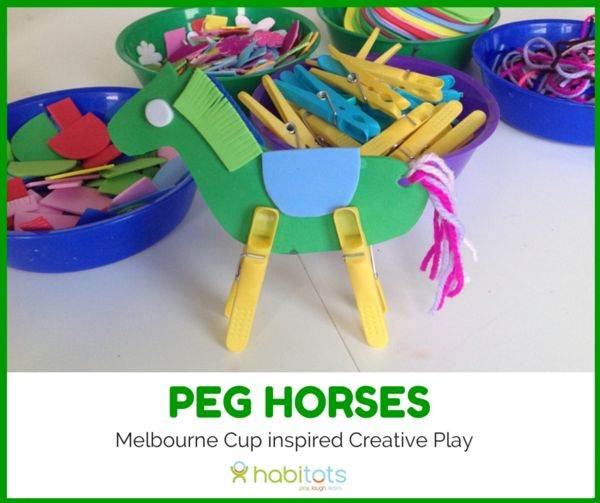 Creative Play inspired by the Melbourne Cup. Simple kids art activity making peg horses. Play, Laugh, Learn at Habitots, a Cafe/Retail/Party/Class space in Albert Park