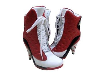 Cheap Air Jordan 13 high heels red white black