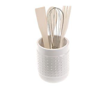 Recipiente para utensilios de cocina de cer mica blanco for Utensilios de cocina de ceramica