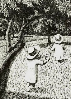 fashions for mens clothes Children  wood engraving by Gwen Raverat  1885 1957  English artist