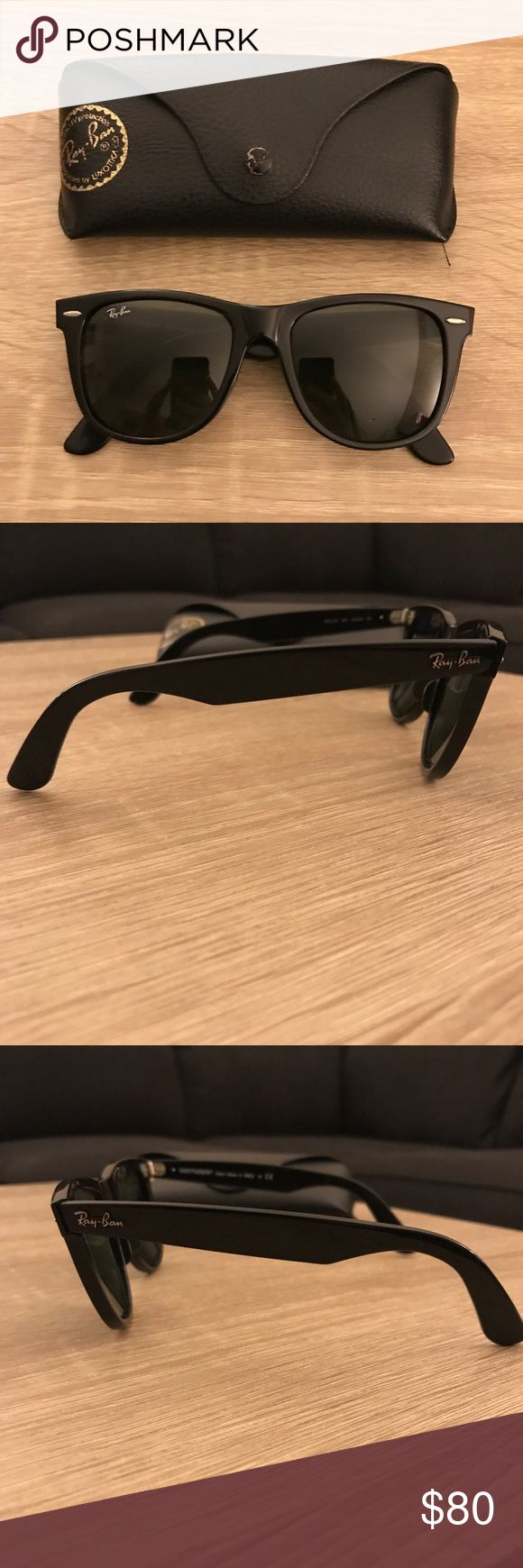 Ray-Ban Wayfarer sunglasses Wayfarer Ray-Ban sunglasses. Still has case, but no cloth. No scratches on the lenses. The only scratches are on the sides near the ears. Price as listed, but will take offers. Ray-Ban Accessories Sunglasses