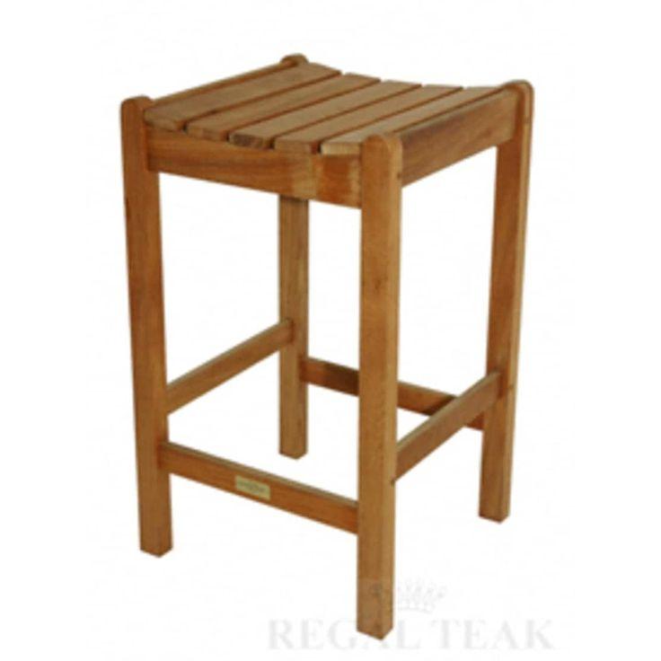 28 Natural Teak Outdoor Patio Bar Stool, Brown, Patio Furniture