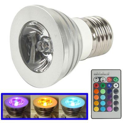 [€2.21] E27 3W RGB Flash LED Light Bulb with Remote Controller, AC 85-265V, Luminous Flux: 240-270lm