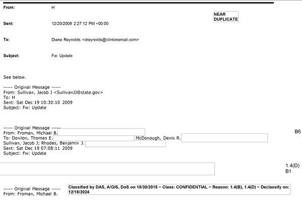 A recently released State Department email from 2009 shows then-Secretary of State Hillary Clinton sent classified material to he daughter Chelsea Clinton.
