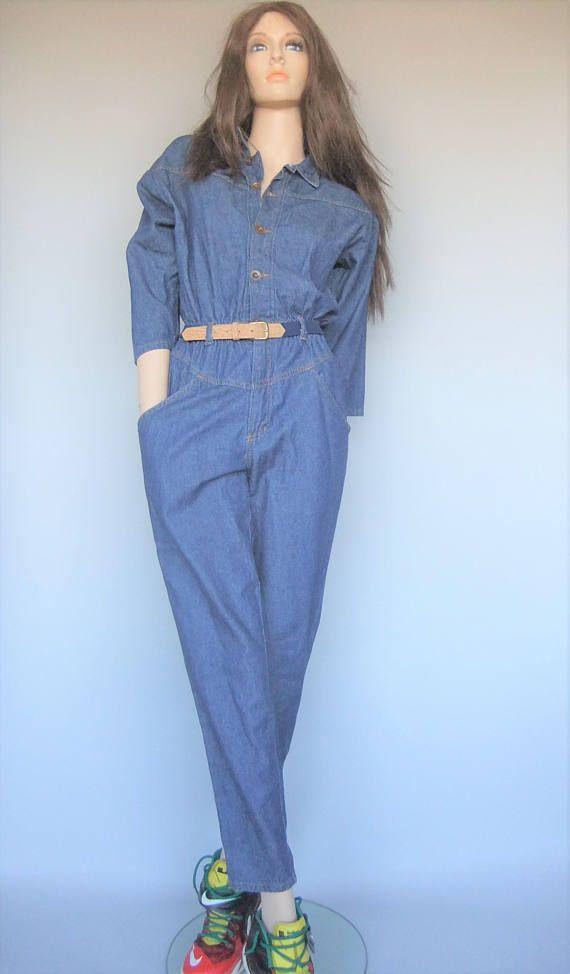 womens jumpsuit denim jean onepiece 80s vintage size small
