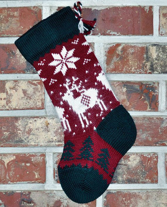 Knitted Afghan Patterns In Squares : Small Knit Christmas Stocking, 100% Wool - Angora Reindeer Stockings, Wool ...
