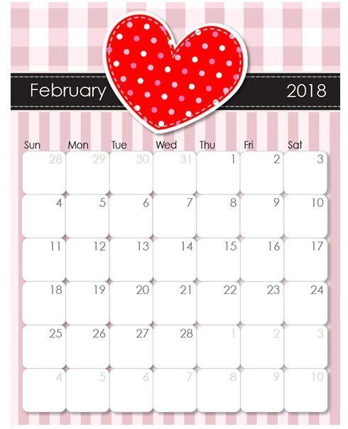 February 2018 Valentines Theme Calendar Calendar Designs