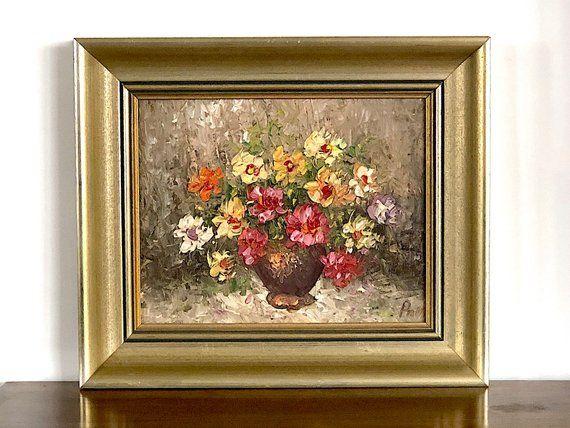 Impressionist Original Art Floral still life Hard texture Oil Painting Small size fine art Roses Wall Kitchen Art Wall dining room decor Art