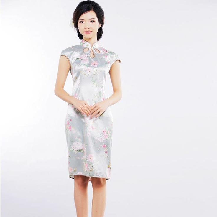 Sexy modern floral printed silk Qipao dress.  Desire of Laurel