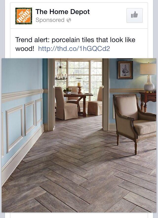 Porcelain Tile Floors- like the design. Shown: Montagna Rustic Bay. Home Depot