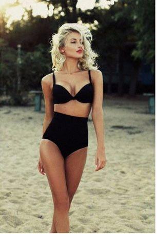 Retro Hot Black Vintage High Hip Swimsuit Bikini