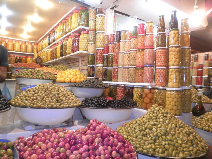 http://www.cookeryinstitute.com.au/online-cooking-course.html #olives #Moroccanmarkets #mixedolives Display of a variety of olives in Morocco