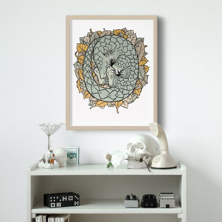 5 colors screenprinted pangolin illustration, available here: http://shop.blackyard.ch/shop/view/pangolin/prints