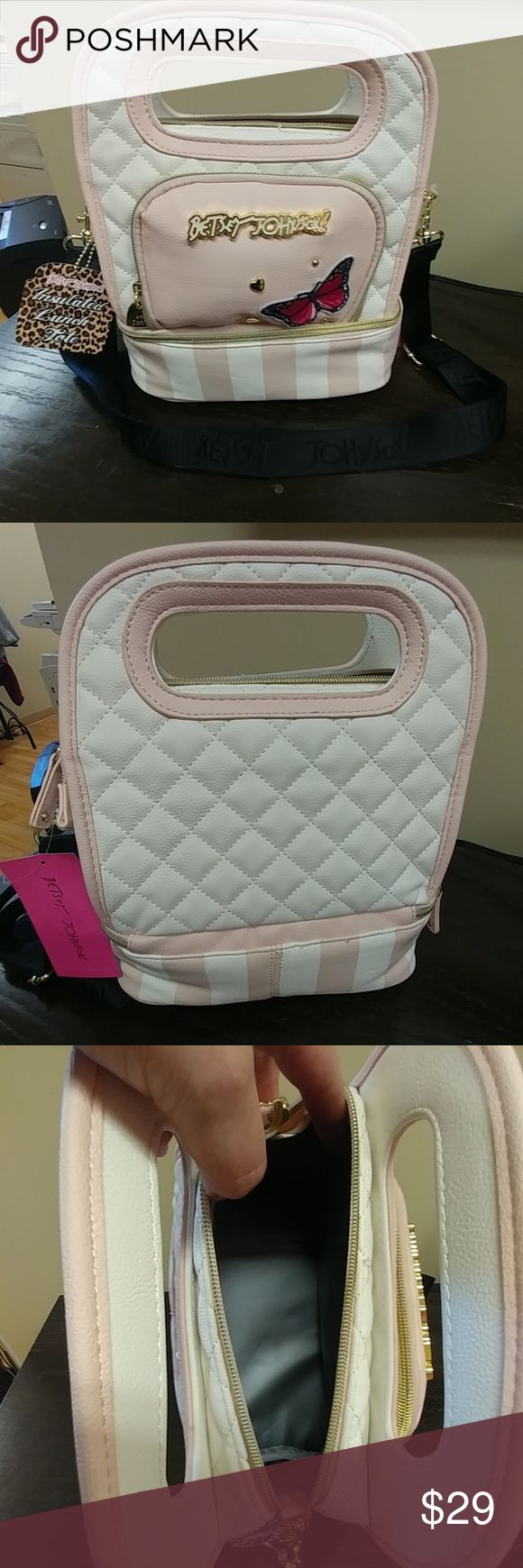 NWT Betsey Johnson Insulated Lunch Tote NWT adorable quilted Betsey Johnson Insulated Lunch tote, 2 separate zippered compartments with small pocket in front with butterfly, adjustable shoulder strap Betsey Johnson Bags Totes