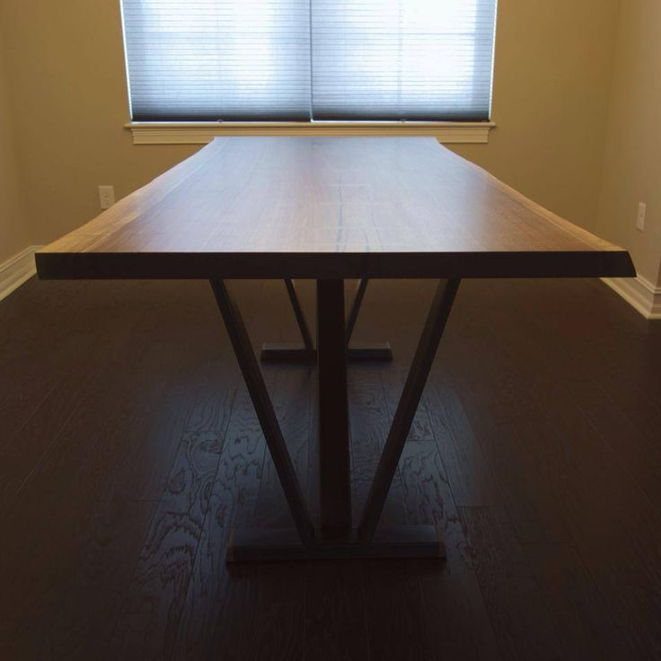Superb Walnut Live Edge Table With Custom Steel Base #walnut #steel #furniture # Tampa