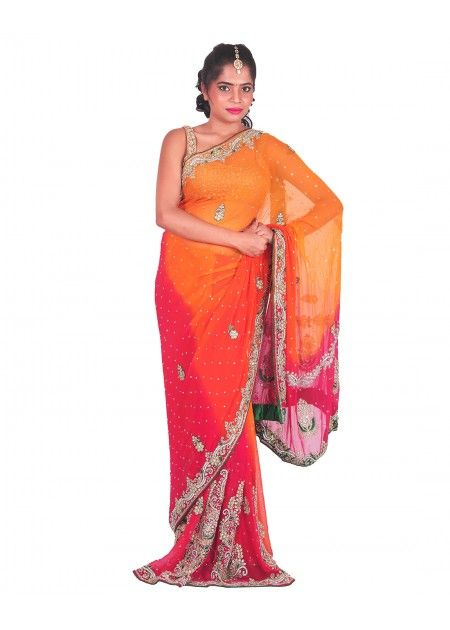 Organic Orange & Pink Color Georgette Saree With Heavy Stone Work