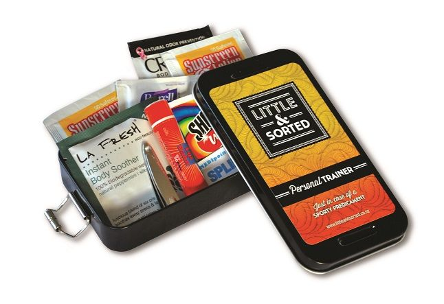 Little and Sorted Personal Trainer.   Just in Case of a Sporty Predicament. Bandaids, Sunscreen, Lip Balm, Nail Clippers, Stain remover wipes and more.  All packed in a handy sized tin.   Perfect for taking to a sports game.