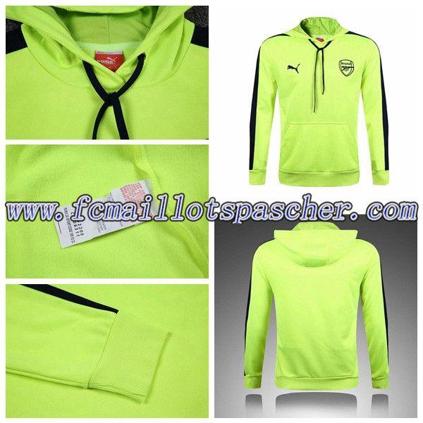 Sweat a Capuche Homme Training Foot Arsenal Vert 2016-17 Prix Moins Cher
