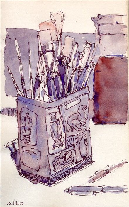 Pen and Ink Contour Drawings with two color value watercolor wash   ChrisCarter-Artist