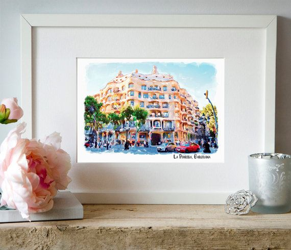 La Pedrera Watercolor painting Barcelona poster by Artsyndrome