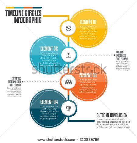 Vector illustration of vertical timeline circle infographic design element. - stock vector