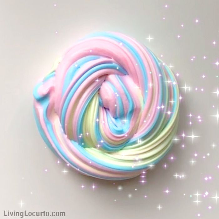 How to make Rainbow Unicorn Fluffy Slime in only 5 minutes! An easy recipe for homemade fluffy slime. LivingLocurto.com