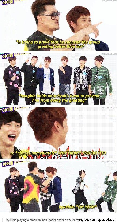 Hyukbin messing with N!!! XD