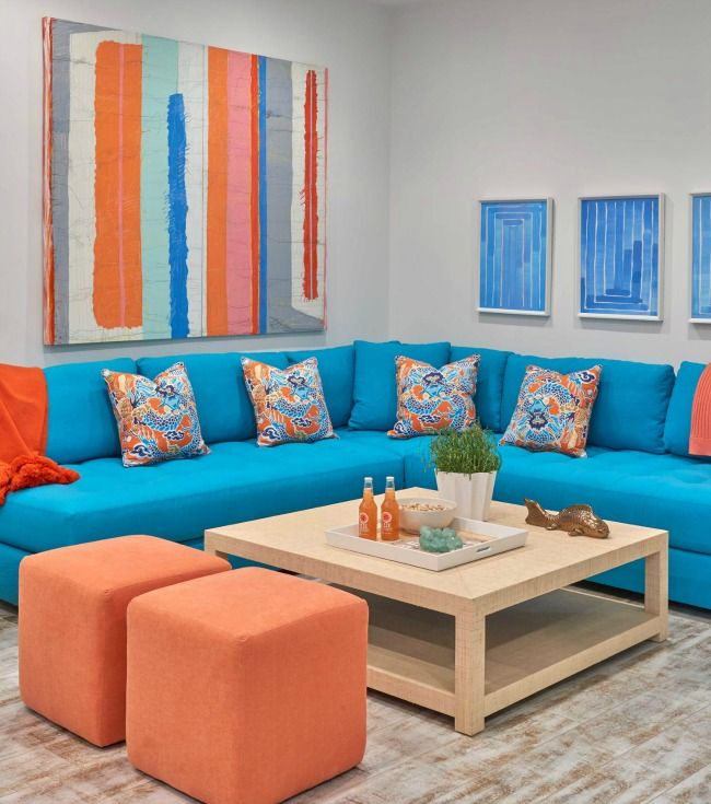 Adorable living room in blue and orange living rooms pinterest blue and ottomans and orange - Blue and orange living room ...