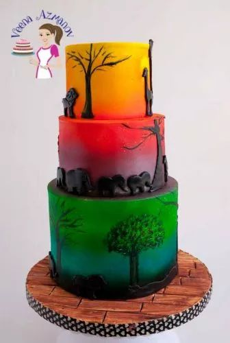 What is the best Airbrush for cake decorating?  An African safari cake is perfect cake for any one who loves the sun or sunset and animals. Creating this cake was so much fun with airbrushing and details